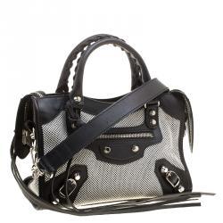 Balenciaga Black and White Cotton Toile and Leather Classic Mini City Silver Hardware Bag