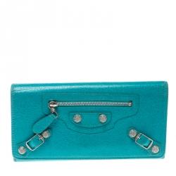 62fb9a46da3 Balenciaga Blue Tropical Leather Classic Giant 12 Money Continental Wallet