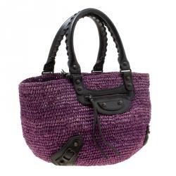 Balenciaga Purple Raffia Woven Panier Basket Bag