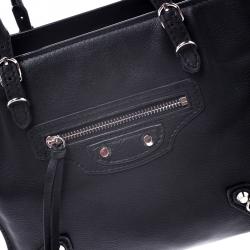 Balenciaga Black Leather Mini Papier A4 Tote