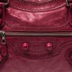 Balenciaga Red Leather CGH Brogues City Tote