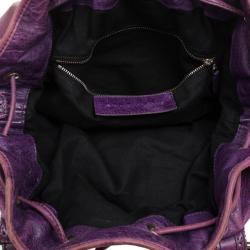 Balenciaga Purple Lambskin Giant Covered Pompon