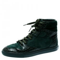 562bfed5ab Balenciaga Green Suede And Croc Embossed Leather High Top Sneakers Size 40