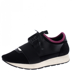 Balenciaga Black Suede, Leather, Mesh And Stretch Fabric Race Runners Lace Up Sneakers Size 38