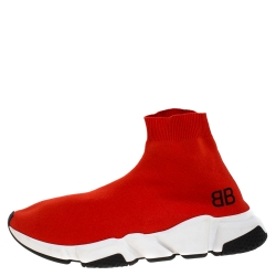 Balenciaga Red Knit Fabric Speed Trainer Sneakers Size 42