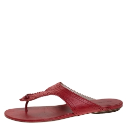 Balenciaga Red Brogue Detail Leather Thong Sandals Size 39