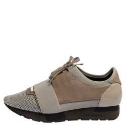 Balenciaga Grey Leather And Mesh Race Runner Low Top Sneakers Size 39
