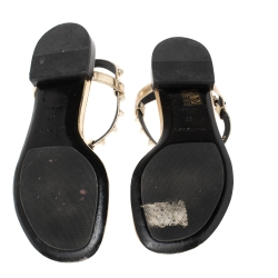 Balenciaga Gold Studded Leather Arena Thong Sandals Size 39
