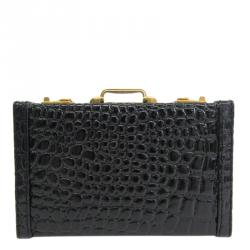 Bally Black Croc Embossed Leather Card Case
