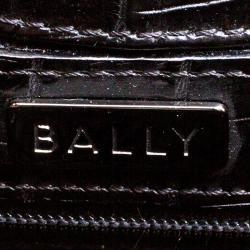 Bally Black Croc Embossed Leather Flap Shoulder Bag