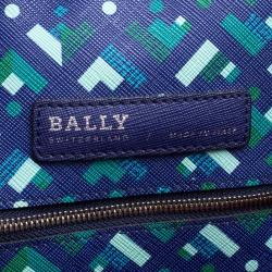 Bally Blue Printed Coated Canvas Stripe Bernina Tote