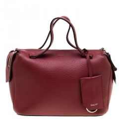 Bally Red Leather and Canvas Kissen Satchel