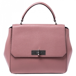Bally Old Rose Leather Small Top Handle Bag