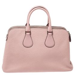 Bally Pink Leather Double Zip Satchel