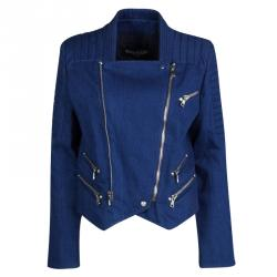 Balmain Blue Zipper Detail Denim Cropped Jacket L