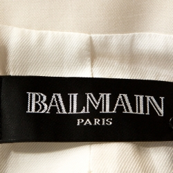 Balmain Off White Wool Double Breasted Blazer M