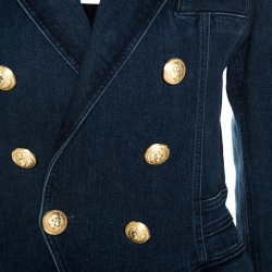 Balmain Blue Denim Double Breasted Blazer M