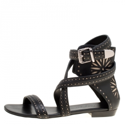 ce550a677 Barbara Bui Black Laser Cut Motif Perforated Leather Ankle Cuff Strappy Flat  Sandals Size 37