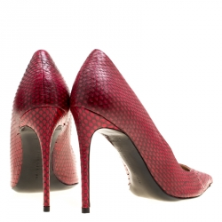 Barbra Bui Red Elaphe Leather Metal Pointed Toe Pumps Size 38