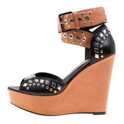 2b67c0e70 Barbara Bui Black Brown Stud Eyelet Embellished Ankle Wrap Wedge Sandals  Size 37
