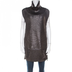 Barbara Bui Silver Foil Print Rib Knit Wool Sleeveless Turtleneck Sweater M