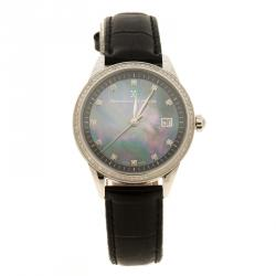 Bernhard H Mayer Blue Mother of Pearl Stainless Steel and Diamond Starlette Women's Wristwatch 34 mm