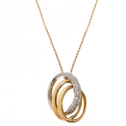 Bernhard H. Mayer Trinity Diamond Two Tone 18K Gold Pendant Necklace