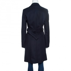 Boss By Hugo Boss Navy Blue Wool Cashmere Belted Cepina Coat S