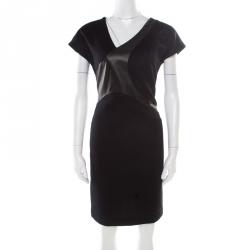2e8296d8213 Boss By Hugo Boss Black Cotton Knit Leather Panel Detail Cap Sleeve Giani  Dress S