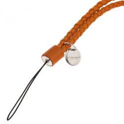 Bottega Veneta Orange Intrecciato Leather Phone Strap