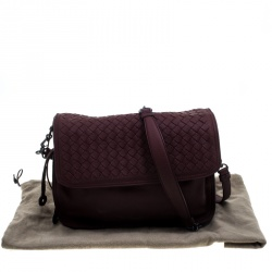 Bottega Veneta Burgundy Intrecciato Leather Drawstring Flap Shoulder Bag