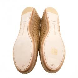 Bottega Veneta Dark Beige Intrecciato Leather Flats Size 40.5