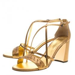 Bottega Veneta Metallic Bronze Intrecciato Leather Block Heel Sandals Size 40.5