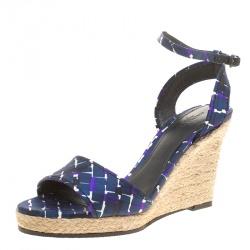 Bottega Veneta Multicolor Satin Ankle Strap Espadrille Wedge Sandals 38