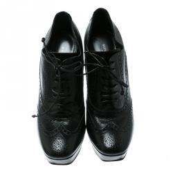 Bottega Veneta Black Brogue Leather Wingtip Ankle Boots Size 39.5