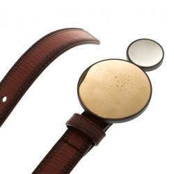 Bottega Veneta Brown Leather Sphere Buckle Belt 90cm