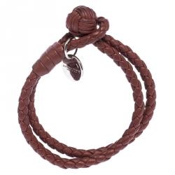 Bottega Veneta Brown Intrecciato Nappa Leather Double Strand Bracelet