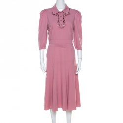 Bottega Veneta Dusty Rose Boudoir Wool Studded Detail Fit and Flare Dress M