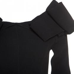 Bottega Veneta Black Stretch Crepe Off Shoulder Dress S