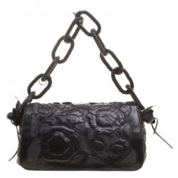 5a78418cc560 Bottega Veneta Black Intrecciato Leather Limited Edition Floral Applique  Sienna Satchel
