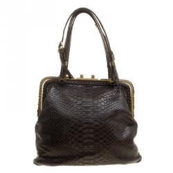 fcad3c179f6a Bottega Veneta Dark Brown Python Frame Bag