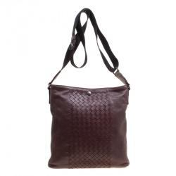 4d877a863bbc Bottega Veneta Burgundy Intrecciato Leather Crossbody Bag