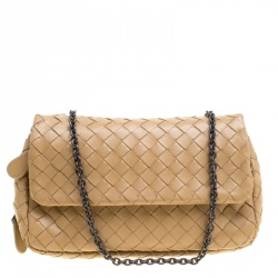 977cff1ce009 Bottega Veneta Brown Intrecciato Leather Chain Clutch
