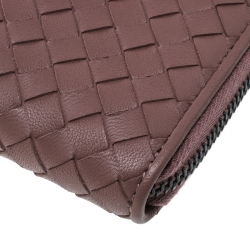 Bottega Veneta Grape Intrecciato Nappa Leather Zip Wallet