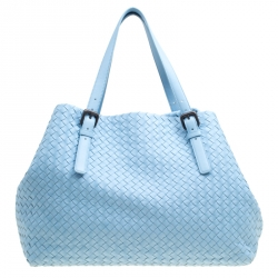 dfce95b228f4 Bottega Veneta Sky Blue Intrecciato Nappa Leather Large Cesta Tote