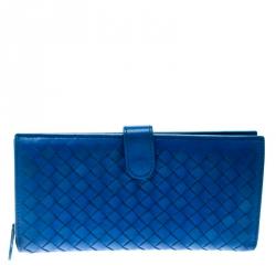 211aa79b92f4 Bottega Veneta Blue Intrecciato Leather Continental Wallet