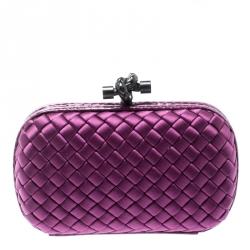 627d0641c Bottega Veneta Purple Intrecciato Satin and Python Trim Knot Clutch
