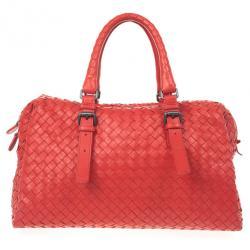 Bottega Veneta Red Intrecciato Boston Bag