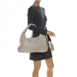 Bottega Veneta Off White Intrecciato Leather Large Veneta Hobo