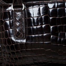 Bottega Veneta Dark Brown Crocodile Satchel